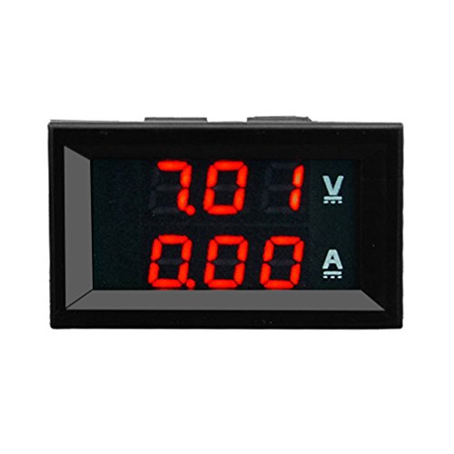 Hemore Automotive 100V 10A DC Digital Voltmeter Amperemeter Blau + Rot LED AMP Volt Meter Gauge KFZ Zubehör 10 Gauge Amp