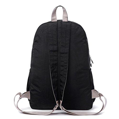 Outreo Rucksack Leichter Schultaschen Damen Schulrucksack Rucksäcke Wasserdicht Schul Daypack Lässige Tasche Reisetasche Backpack für Sport Schwarz