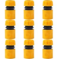 URATOT 9 Pack Hose End Quick Connector for Garden 1/2 Inch Hose Pipe Connector (Yellow)