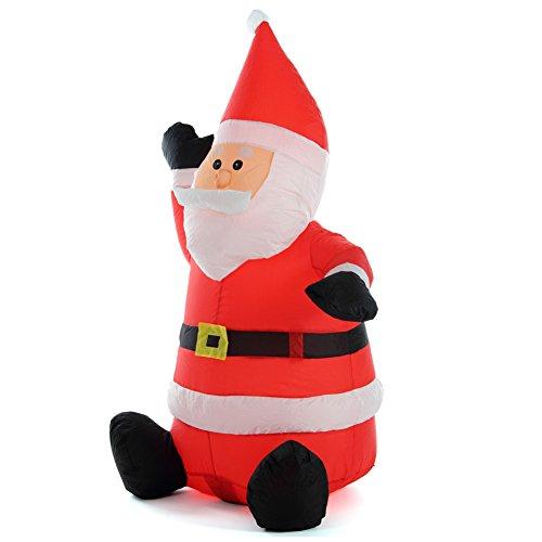 Bakaji babbo natale gonfiabile seduto autogonfiabile grande altezza 120 cm con illuminazione a led e kit fissaggio per esterno protezione ip44 addobbo e decorazione natalizia