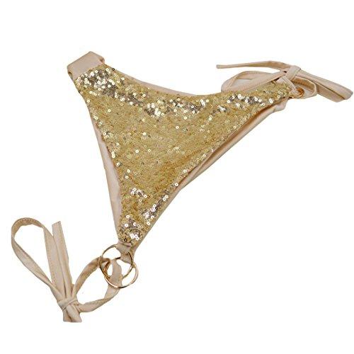 AiSi Damen sexy hot Glitzer Bikini-Set Badeanzug Bademode Bikinihose Bikinioberteile Neckholder Design mit Pailetten S M L XL, Gold Gold