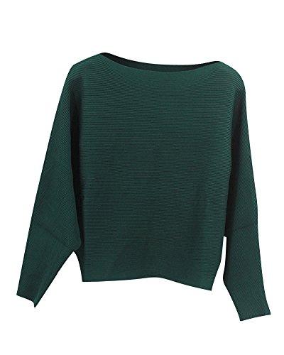 Donna Casuale Maniche Lunghe Pullover Maglia Maglione Maglioni Tops Maglietta Verde