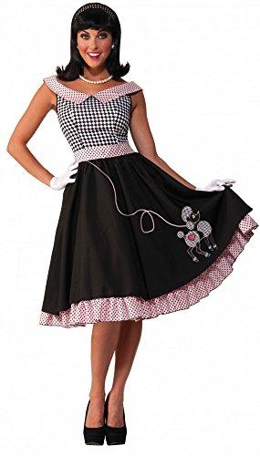 50er Jahre Kostüm Rock'n'Roll Babe mit Pudel, (Pudel Rock Kostüm Für Damen)