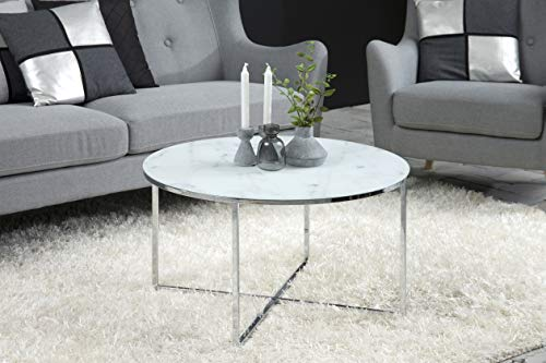 AC Design Furniture Couchtisch Antje, B: 80 x T:80 x H: 45 cm, Glas, Weiss Gestell Chrom