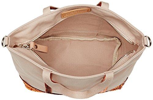 Tracolla Vanessa Bruno Ladies Baby Cabas Coton Et Paillettes, 9,5x17x26 Centimetri Beige (sedia / Ocre)