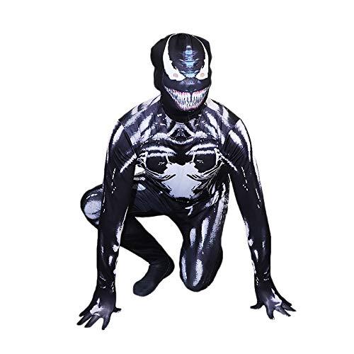 Damen Kostüm Venom - Venom Spiderman Kostüm Kind Erwachsener Cosplay Kostüm Superhelden Halloween Onesies Mottoparty Karneval 3D Druck Spandex Strumpfhosen,Child-XL