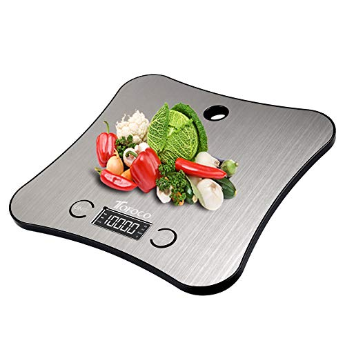 TOFOCO Digitale Küchenwaage Waage Backen Food Scale, 1-5000g/ml Tara Multifunktionswaage Elektronische Waage Küchen Klein Digitalwaage LCD Display - Silber - 1 STK.