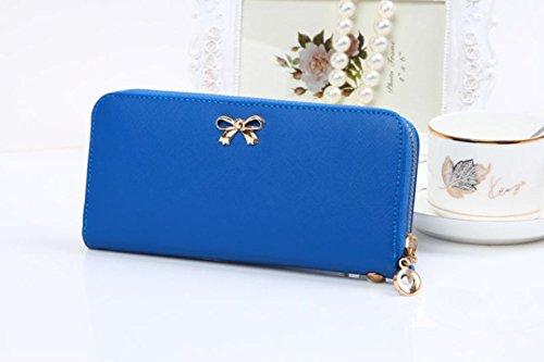 Vovotrade Le donne coreane di Bowknot della borsa solida borsa Portafoglio Wearable (rosa caldo) blu scuro