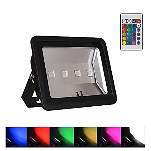 WEDO 200W RGB Led Flood Light IP66 Waterproof Black Shell 16 Colors Change 4 Modes with Remote Control Wall Wash Light Security Light for Outdoor Garden Landscape Yard Car Park