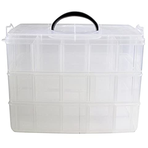 3 Tier Clear Plastic Stackable Storage Box by Kurtzy - For Storing & Organising Sewing Embroidery Threads Bobbins Beads Beauty Supplies Nail Polish Jewelry Arts & Crafts Accessories - 30 Compartments