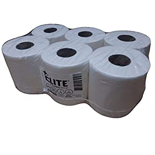 Elite White Centrefeed Rolls, 2-Ply Embossed, White (Pack of 6) BUY 3 GET 1 FREE