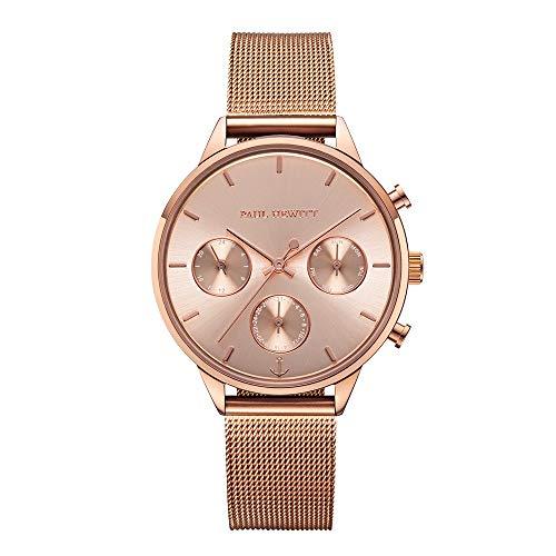 PAUL HEWITT Armbanduhr Damen Everpulse Line Rose Sunray - Damen Uhr (Rosegold), Damenuhr mit Edelstahlarmband in Rosegold, rosa Ziffernblatt (Rose Für Frauen Gold-uhr)