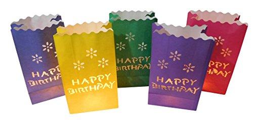 httüten Lichtertüten Happy Birthday Geburtstag für Teelichter Kerzen Laternen bunt Kerzenhalter (Kleine Papier-laternen)