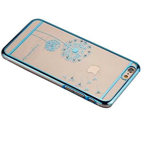 Etsue pour Apple iPhone 6 Plus/6S Plus Coque,Slim-Fit Smart Gillter Armure PC Case Etui pour Apple iPhone 6 Plus/6S Plus,Mode Mignonne Dur Plastique Coque Protection Bumper Shell pour Apple iPhone 6 P Pissenlit Bleu