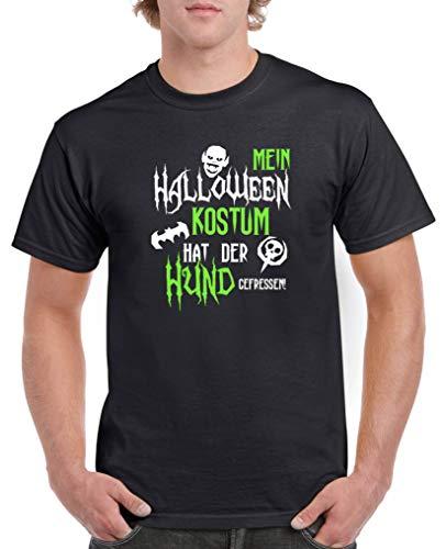 Comedy Shirts - Mein Halloween Kostuem hat der Hund gefressen - Herren T-Shirt - Schwarz/Weiss-Neongrün Gr. L