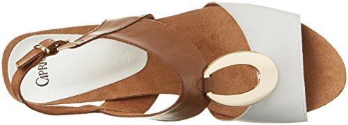 Caprice Damen 28308 Offene Sandalen mit Keilabsatz Braun (COGNAC/WHT MUL)