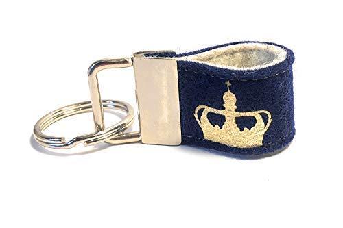 Mini Schlüsselanhänger aus Wollfilz mit Krone dunkelblau/hellgrau