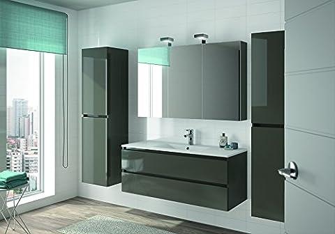 ALLIBERT Badmöbel-Set Badmöbel vormontiert Softclose-Funktion grau Glanz Spiegel Waschtisch 120