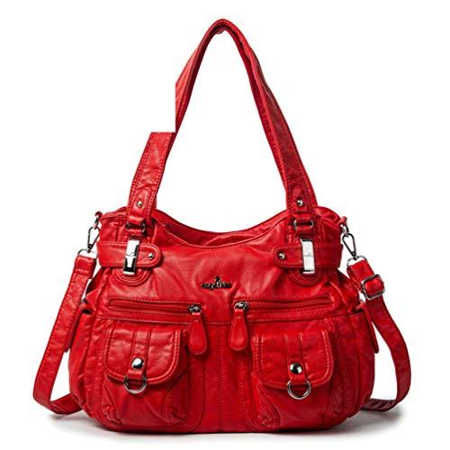 PU Leder Crossbody Taschen für Frauen Hobo Multi Pockets Schultertasche Elegante Handtasche mit großer Kapazität Red -