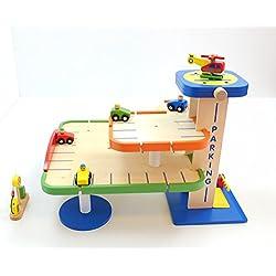 Unbekannt Parkhaus/Parkgarage mit Zubehör aus Holz / Maße: 38,5 x 35 x 51 cm / Gewicht: 3,5 kg / inkl. Aufbauanleitung / 3+