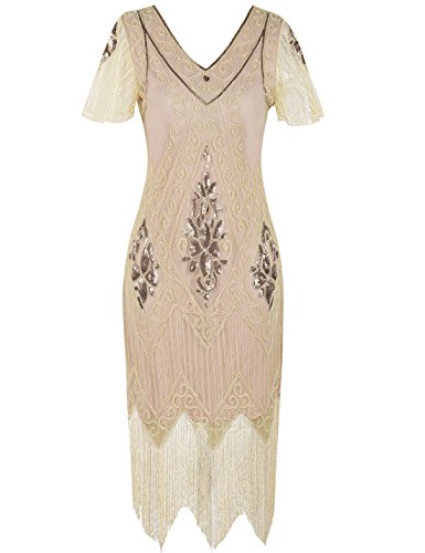 PrettyGuide Damen 1920er Charleston Kleid Pailetten Cocktail Flapper Kleid Mit Ärmel,  X-Large,...