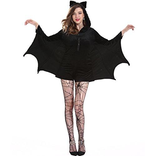 MBEN Halloween bat Cosplay, sexy Vampir weibliche Batman Frau Kostüm, Größe (einschließlich Strümpfe),L