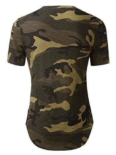 HEMOON Herren O-Neck T-Shirt Shaped Raglan Slim Rundhals Tarnung
