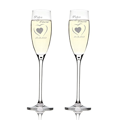 Deux verres Leonardo cheers avec gravure : au grand coeur un petit coeur
