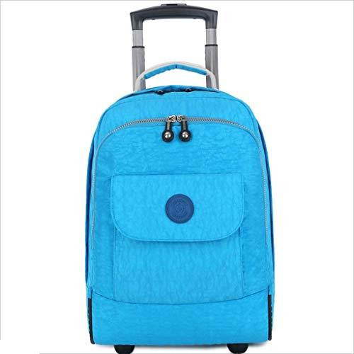 CXF@ Rädern Laptop Rucksack College Rucksack Rolling School Bag Business Rucksack Reise 17 Zoll Rucksack Rädern Rollen (Farbe : Blau) -