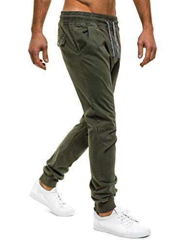 OZONEE Uomo Jogger Chino Jogging Pantaloni Cascante Pantaloni Sport Jogging Fitness ATHLETIC 705 verde_GW-JS002