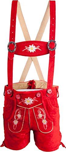 Almwerk Kinder Trachten Lederhose kurz in braun, hellbraun, schwarz und rot, Kindergrößen:122 - 6-7 Jahre. 117-122 cm;Farbe:Rot (Mittellange Hose)