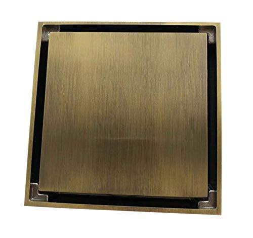 Rmbearmoni Floor Drain 100% Solid Brass Square Bathroom Shower Floor Drain Tile Insert Invisible Water Filter Black Gold Chrome -