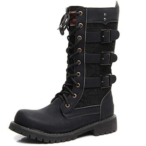 Kalb-leder-lace Up Schuhe (MERRYHE Lace Up Mid Kalb Stiefel Für Männer, Schnalle Gürtel PU Leder Martin Boot Schwarz Punk Rock Biker Schuhe Kampfstiefel Tactical Boot,Black-44)