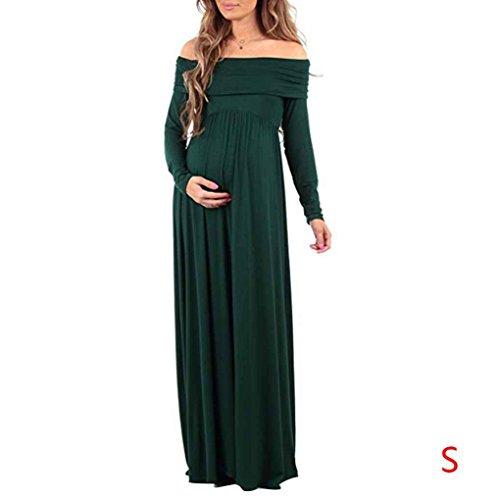 Frau Mädchen Flache Schulter Kurzen Ärmeln Hohe Taille Gravida Schwangere Umstandskleid Rock Robe Kleidung Minzhi