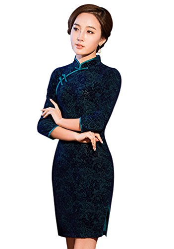 Baymate Damen Elegant Kurzes Chinesisches Kleid Cheongsam Qipao Ärmel Kurz Partykleid Stil 2