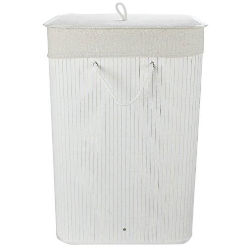 ASAB Faltbar Bambus Wäschesammler Korb Schrankkorb Aufbewahrung Bin Abnehmbar Schmutzige Kleidung Waschen Tasche, Weiß, Quadrat (Weißes Quadrat Bin)