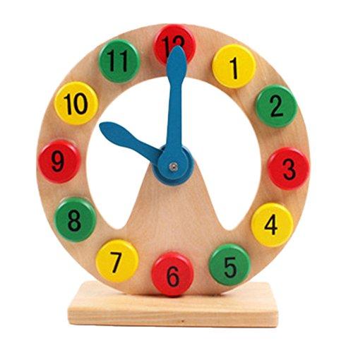 Pueri Holzform Sortierung Uhr Lehre Uhren Digital Pädagogisches Spielzeug für Kleinkinder Kinder (Lehre Hände Uhr)