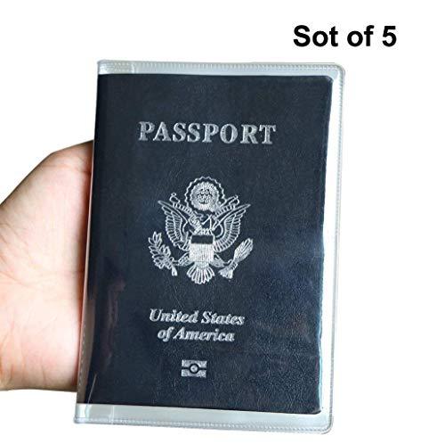 5confezioni plastica custodia per passaporto-passaporto protector-pvc passport cover-custodia per passaporto protector-id card protector, satinato colore (trasparente)