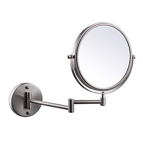 KES SUS 304 Edelstahl Bad 3x Vergrößerung Zweiseitig Schwenkbar Wandhalterung Spiegel 8-Zoll, Gebürstet, BWM200M3-2