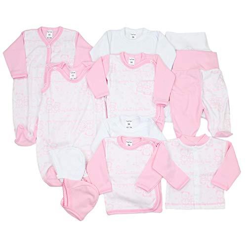 TupTam Unisex Baby Erstausstattung Bekleidungsset 11 teilig, Farbe: Rosa / Weiß, Größe: 62