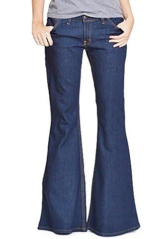 60s 70s bell-bottom wide flared jeans dark blue indigo