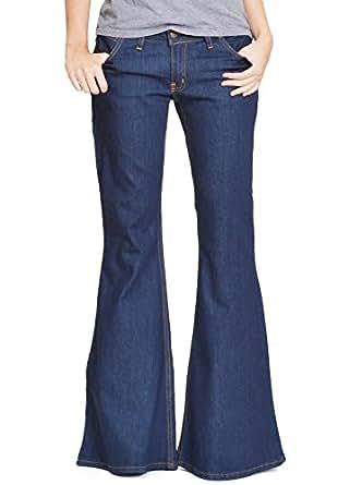 60s 70s bell-bottom wide flared jeans dark blue indigo (8)