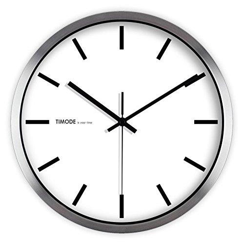 Gyuhanlt quarzo classico non ticchettio silenzioso sweeping secondi orologio da parete rotondo a pile eay da leggere per soggiorno camere da letto cucine, casa / ufficio / scuola / barbordo bianco e nero tradizionale, bianco, 12 pollici