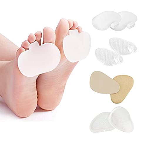 HLYOON H06 4 Pairs Gel Metatarsal Pads For High Heels,Slipper and Ball of Foot Cushions, Leather Forefoot Pads,High Heels Pads