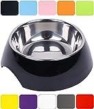 DDOXX Fressnapf in vielen Farben & Größen für kleine & große Hunde Katzen | Futternapf Katze klein | Hundenapf Hund groß | Katzennapf Edelstahl | Melamin-Napf | Schwarz, 350 ml