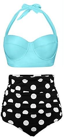 EasyMy Damen Hohe Taille Bikini Vintage Bademode, Hellblau, EU 42-44Tag Size 2XL