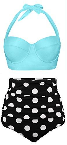 Angerella Damen Retro Stil Polka-Punkt mit hoher Taille Badeanzug Bikini Set (EU 36-38=Tag Size L, Hellblau)
