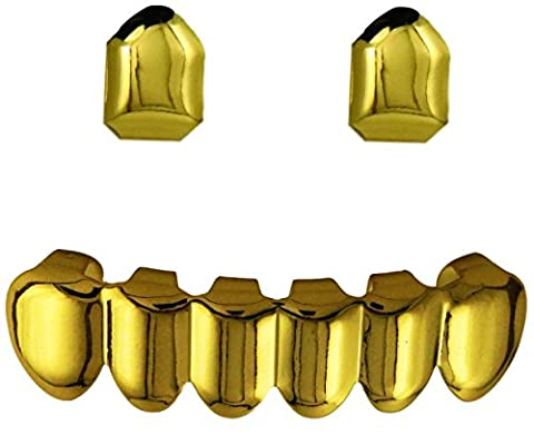 24K Gold Plated 6 Tooth Bottom Grillz With 2 Single Tooth Upper Grillz + 2 EXTRA Molding Bars