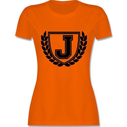 Anfangsbuchstaben - J Collegestyle - tailliertes Premium T-Shirt mit Rundhalsausschnitt für Damen Orange