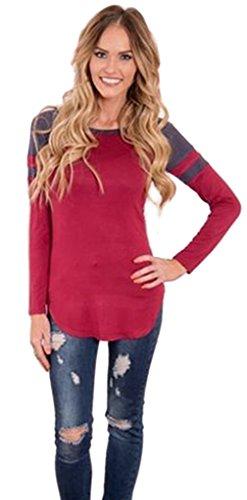 La Vogue T-Shirt Top Haut Blouson Manche Longue Classique Femme Grande Rouge
